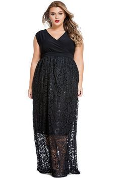 Elegant V Neck Floral Lace Maxi Skirt Plus Size Dress
