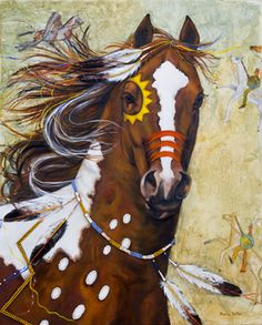 Spectacular Looking Spirited Painted Chestnut Paint Indian Pony.