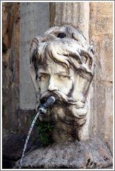 Face containing a water spout.  Fountain in the Place de l'Hôtel de Ville (city hall plaza).