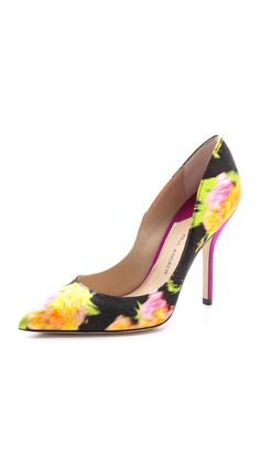 Paul Andrew Shakti Flower Print Pumps - Match Perlae Couture's Sapphire and Black Lace Cocktail Dress with these with shoes and Michique's Orchid Forrest Clutch and you will have a seriously gorgeous outfit.  Check it out on Perlae Couture's Style Board and then shop www.perlaecouture.com for your dress!