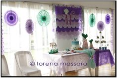 Lovely decorations at a Mermaid party.  See more party ideas at CatchMyParty.com.  #mermaid #partyideas