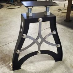 VINTAGE INDUSTRIAL TABLE LEGS: These legs are handmade from steel. They carry a vintage industrial aesthetic very similar to the antique cast legs from the early Victorian, Art nouveau. Iron Furniture, Steel Furniture, Unique Furniture, Vintage Furniture, Rustic Furniture, Furniture Ideas, Decor Vintage, Furniture Stores, Luxury Furniture