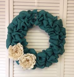Teal Burlap Wreath with Burlap Flowers, Wreath for All Year, Spring Wreath, Blue Wreath, Turquoise Wreath, Ivory Burlap Flowers, Peonies on Etsy, $44.00