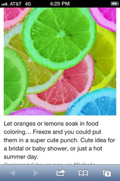 For fresh flower arrangements.Use blue oranges or lemons. Let oranges or lemons soak in food coloring… Freeze and you could put them in a super cute punch. Cute idea for a bridal or baby shower, or just a hot summer day. Hawaian Party, Festa Party, Grad Parties, Summer Parties, Teen Parties, Food Coloring, Coloring Books, Yummy Drinks, Refreshing Drinks