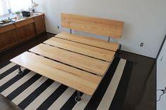 Metal and Wood Modern Platform Bed