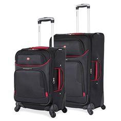 SwissGear 2 PC Expandable Spinner Wheel Black Suitcase Set - Softshell & Lightweight