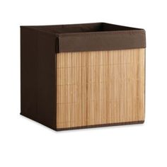 Real Simple® Brown Fabric Bin with Bamboo Front - BedBathandBeyond.com