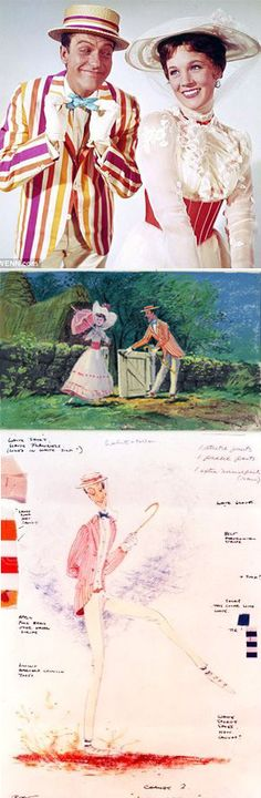 Dick Van Dyke and Julie Andrews in 'Mary Poppins' (1964). Costume rendering by Tony Walton and the Disney concept art.