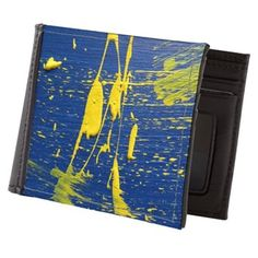 Abstract in Blue Yellow Mens Wallet