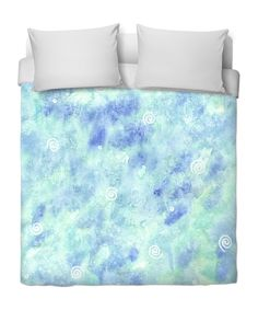 Blue lagoon Duvet Cover by @savousepate on RageOn! #bedroomdecor #watercolor #mint #cyan