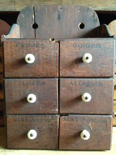 One of my favorite style of spice boxes. Antique Stoneware, Stoneware Crocks, Spice Cabinets, Old Wooden Boxes, Spice Drawer, Old Suitcases, Wall Boxes, Primitive Decor, Primitives