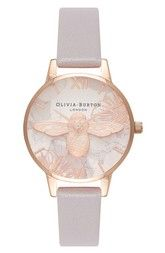 OLIVIA BURTON Olivia Burton Abstract Florals Leather Strap Watch, 30mm available at #Nordstrom