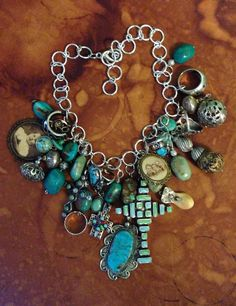 Pinterest inspired. Just collected a lot of my jewelry and assembled then into one grand necklace.