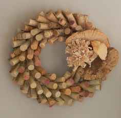 I wreath I made with wine corks. find additional work of mine on www.yessy.com/nancybossert or nancybossert.artspan.com