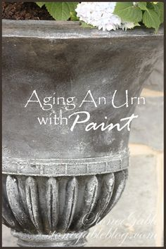 StoneGable: AGING URN WITH Chalk Paint® // Graphite, French Linen & Old White