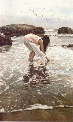 Conferring with the Sea: Steve Hanks, Watercolor watercolor watercolor watercolor art print by LeighViner Art And Illustration, Watercolor Artists, Watercolor Paintings, Watercolors, Realistic Paintings, Beautiful Paintings, Oeuvre D'art, Amazing Art, Art Photography