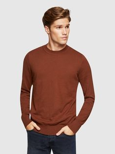RUPERT COTTON/CASHMERE CREW NECK   BROWN DARK - Oxford Shop Mens Trousers Casual, Trouser Suits, Oxford Online, Polo Tees, Slim Man, Workout Shirts, Mens Suits, Work Wear, Cashmere