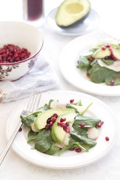 Spinach Salad with Shaved Apples, Pomegranate, Avocado and Pomegranate Vinaigrette - YUM!!!