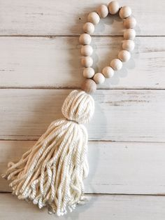 Items similar to Ivory Boho Wood Bead Tassel on Etsy : Excited to share this item from my shop: Ivory Boho Wood Bead Tassel Yarn Crafts, Bead Crafts, Arts And Crafts, Diy Crafts, Wood Bead Garland, Beaded Garland, Garlands, Diy Tassel, Tassels