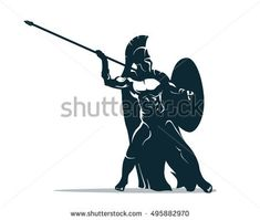Viking Warrior, Spartan Warrior, Wooden Spoon Crafts, Wooden Art, Strong Viking, Flat Design, Spartan Tattoo, Illustrator, Fighting Poses