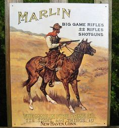 Marlin Big Game Rifle TIN SIGN cowboy western vtg metal wall decor remington 238