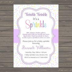 Purple Baby Girl Sprinkle Invitation, Sprinkles Lavender Baby Sprinkle Invitation, Baby Girl Sprinkle, printable Digital JPEG