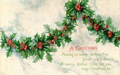 Victorian postcard Christmas holly