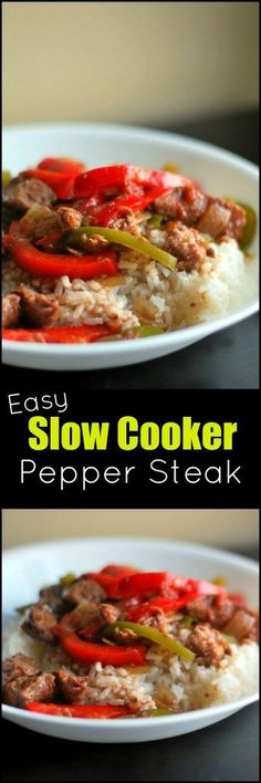 This Easy Slow Cooker Pepper Steak is one of our ALL TIME FAVORITE crock pot recipes!  I always have a couple of these prepped in the freezer ready to go in the slow cooker for a busy day!