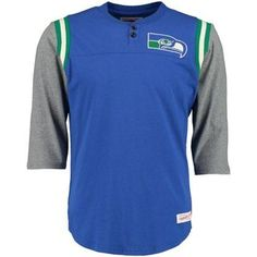 Seattle Seahawks Rushing Play Mitchell & Ness Throwback Henley Top