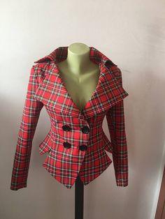 Enjoy exclusive for Red Tartan checked Royal Stewart tailored jacket/vintage style plaid jacket//Checked steampunk lady blazer online - Wehaveover Peplum Jacket, Plaid Jacket, Tailored Jacket, Vintage Stil, Vintage Mode, Tartan Mode, Celtic Clothing, Tartan Fashion, Tartan Dress