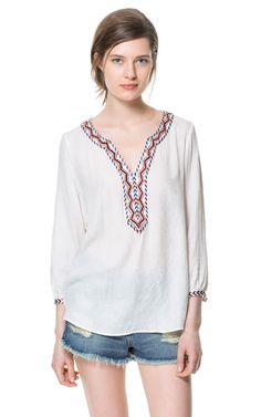 BLOUSE WITH EMBROIDERED NECKLINE - Tops - Woman | ZARA United States