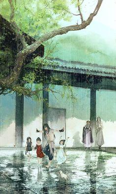 Qiubao, Xiaoxiao & Sun Tuo by ibuki satsuki Fantasy Landscape, Fantasy Art, Character Art, Character Design, Chinese Cartoon, Art Asiatique, Family Illustration, Happy Tree Friends, Cg Art