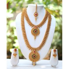 One Gram Gold Plated Temple Mango Design Long Short Necklace Bridal Jewelry Short Necklace, Necklace Set, Gold Necklace, Indian Wedding Jewelry, Bridal Jewelry, Real Diamond Necklace, Gold Jewellery Design, Gold Jewelry, India Jewelry