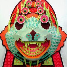 Amazing Wood Animal Sculptures by Artist AJ Fosik Kirigami, Papier Diy, Dragons, Graffiti, Maquillage Halloween, Animal Heads, Animal Sculptures, Wooden Crafts, Monster