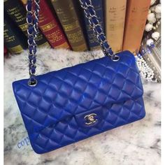 5c6d2a1c35d1 Chanel Small Classic Flap Bag in Royal Blue Lambskin with silver hardware
