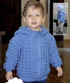 Crochet Patterns For Kids Hooded kids jacket instruction size: 98 years). Baby Knitting Patterns, Knitting For Kids, Baby Patterns, Free Knitting, Crochet Patterns, Hood Pattern, Jacket Pattern, Baby Pullover, Baby Cardigan