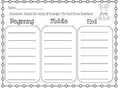 K - 3 Beginning-Middle-End ELA Language Arts Worksheet | T e a c h ...