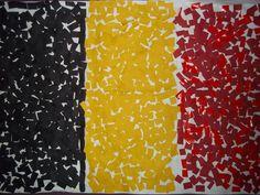 Onze koning treed af, we krijgen een nieuwe koning! Dat vieren we natuurlijk ook in de opvang. We maakten deze mooie Belgische vlag!