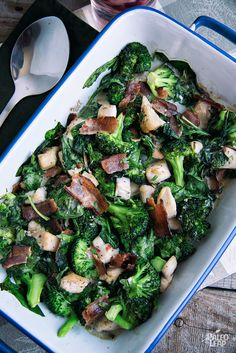 Bacon Broccoli Chicken Casserole - This colorful, vegetable-heavy casserole is easy even in the summer months.