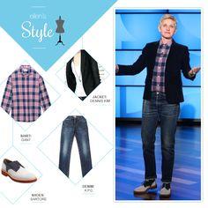 Ellen's Look of the Day: plaid button up shirt, black blazer, denim and saddle shoes