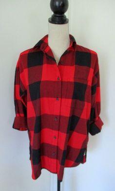 New Old Navy Red Black Buffalo Plaid Boyfriend Flannel Shirt Sz S Womens Big Red #OldNavy #ButtonDownShirt #Casual