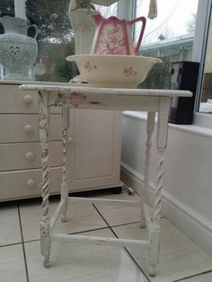 Barley suger washstand handpainted an hand painted rose growing up one leg to make it a unique piece just something I love doing