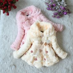 Girls faux fur coat Autumn/Winter Clothes Children Kids Toddler children outerwear Sweet flower jacket Warm Leopard clothing