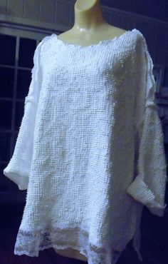Plus Size Tunic Lace Hem Vintage Cotton Bedspread by SheerFab