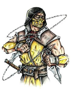 Scorpion on Mortal-Kombat-Fans - DeviantArt Scorpion Mortal Kombat, Mortal Kombat 3, Transformers Coloring Pages, Ninja Turtles Art, Batman Vs Superman, Video Game Art, Marvel Art, Black Panther, Character Art