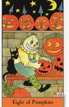 78 Whispers In My Ear: Tarot Spells- A Samhain Celebration    Halloween Tarot- Eight of Pumpkins
