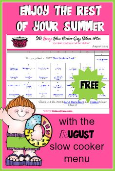 Free Printable August Slow Cooker Menu Plan - Money Saving Mom®