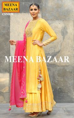Yellow Chanderi Sharara Suit @ MeenaBazaar Pakistani Dresses, Indian Dresses, Indian Outfits, Anarkali Dress, Anarkali Suits, Lehenga, Indian Attire, Indian Ethnic Wear, India Fashion