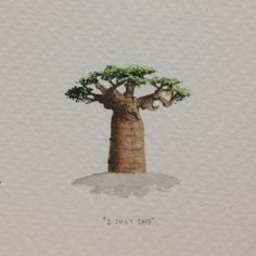 Day 183 : The tree of life. 26 x 26 mm. #365paintingsforants #miniature #watercolour #baobab (at Exeter)