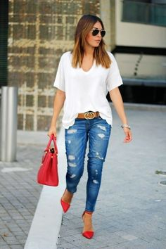 Distressed Jeans, Pops of Red and Gucci Belt